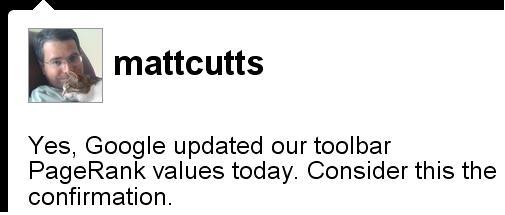 MattCutts confirmando atualização do PageRank