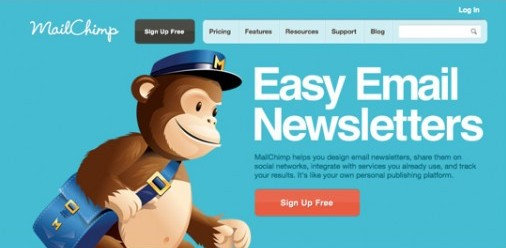 Homepage do site Mailchimp