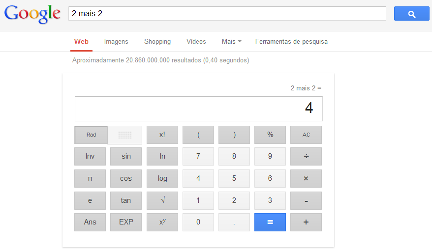 Calculadora Científica na SERP do Google
