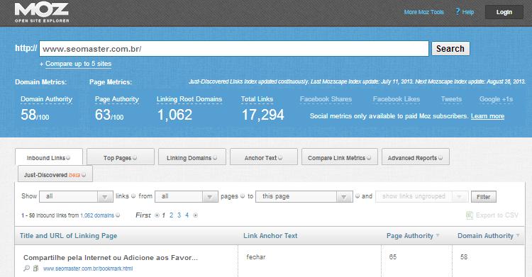 Open Site Explorer1 5 Ferramentas para Análise de SEO