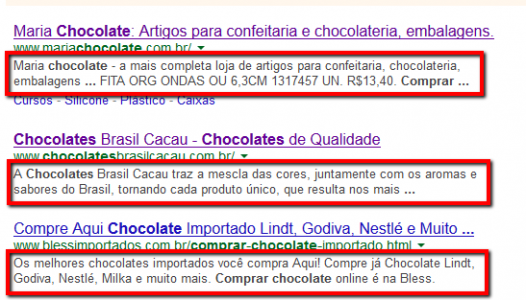 meta description no resultado do Google