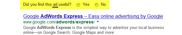 Google pergunta: esse anúncio é útil?